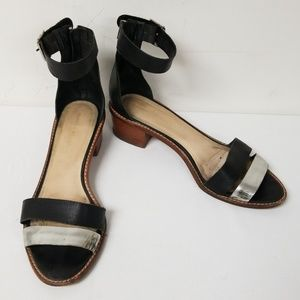 Loeffler Randall Black Zipper Back Sandals 10.5